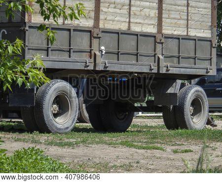 Old Trailer Of Old Truck. Transportation. Commercial Business. Ust-kamenogorsk (kazakhstan)
