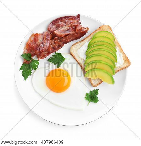 Romantic Breakfast With Fried Bacon, Heart Shaped Egg And Avocado Toast Isolated On White, Top View.