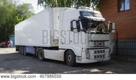 Kazakhstan, Ust-kamenogorsk, May 17, 2020: Volvo Fh. European Truck. Commercial Business. White Volv