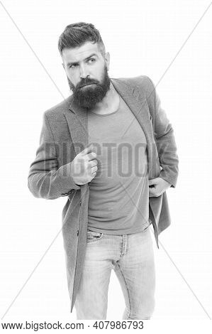 Comfortable Outfit. Man Bearded Hipster Stylish Fashionable Jacket. Casual Jacket Perfect For Any Oc
