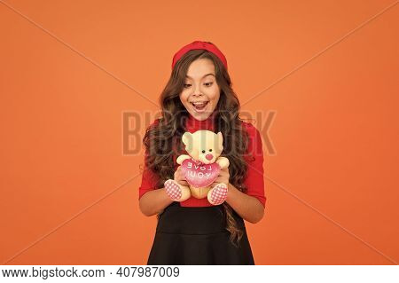 Little Girl Play With Soft Toy Teddy Bear. Child Care. Childhood Memories. Emotional Intellect. Love
