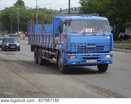 Kazakhstan, Ust-kamenogorsk, June 2, 2020: Kamaz 65117. Commercial Vehicle. Blue Russian Truck