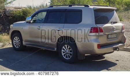 Kazakhstan, Ust-kamenogorsk, June 12, 2020: Luxury Offroad Vehicle Toyota Land Cruiser 200