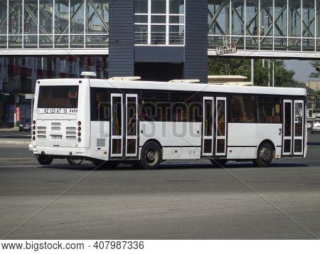 Kazakhstan, Ust-kamenogorsk, June 12, 2020: Liaz-5256 Bus. Traffic. Donwtown. Public Transport