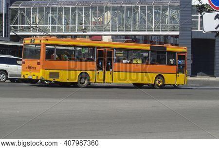 Kazakhstan, Ust-kamenogorsk, June 12, 2020: City Bus Mercedes-benz. Downtown. Traffic. Public Transp