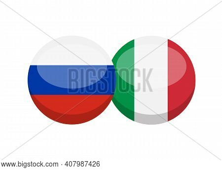 Russian And Italian Flag Isolated On White Background. Russian-italian Conversation Concept. Learn L