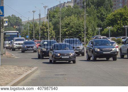 Kazakhstan, Ust-kamenogorsk, June 12, 2020: Traffic. One Of The City Streets. Downtown. Street Traff