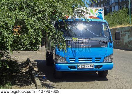 Kazakhstan, Ust-kamenogorsk, June 12, 2020: Blue Isuzu Nqr Cargo Truck. Medium Duty Truck. Isuzu N S