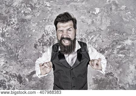 Friendly Wink. Caucasian Man Wink Eye On Abstract Wall. Caucasian Hipster Enjoy Jewish Dance. Bearde