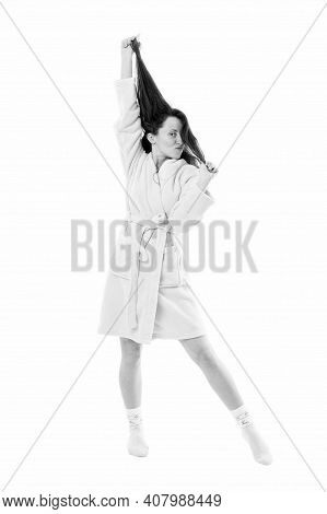 Just Relaxing. Woman In Bathrobe Isolated On White. Good Morning. Cosy Day At Home. Lazy Sunday. Hom