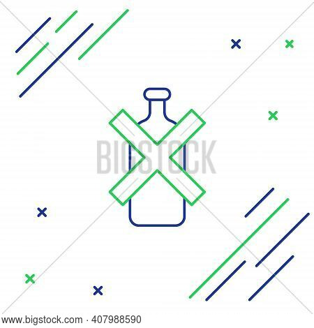 Line No Alcohol Icon Isolated On White Background. Prohibiting Alcohol Beverages. Forbidden Symbol W