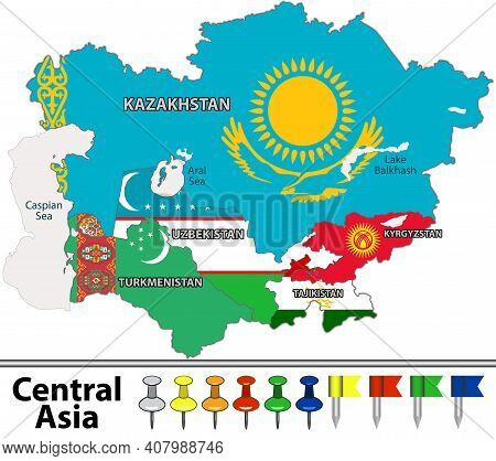 Vector Map Of Central Asia With Flags, Caspian Sea And Large Lakes