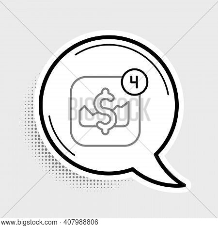 Line Mobile Stock Trading Concept Icon Isolated On Grey Background. Online Trading, Stock Market Ana