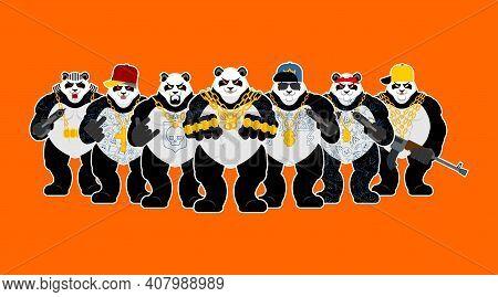 Panda Gangster Gang. Cool Bear Gang Of Bandits. Swag Gangsta. Animal Guy Rapper