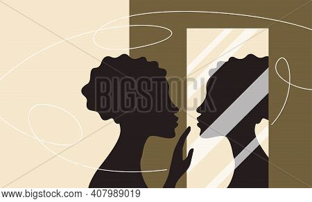 Woman Standing And Looking At Her Reflection In A Mirror. Self Confidence And Self Awareness Concept