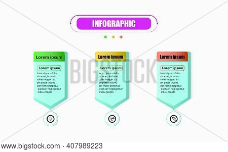 Timeline 3 Point Banner Elements And Numbers. Presentation Business Infographics Template With Three