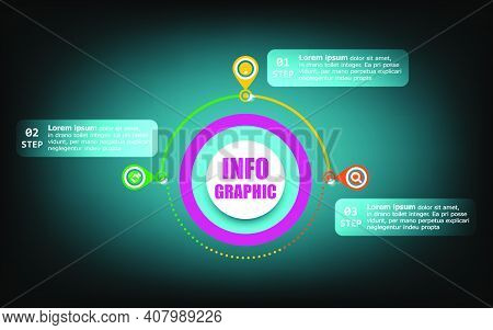 Timeline Circle Info Elements And Numbers. Business Concept With 3 Steps. Presentation Business Info