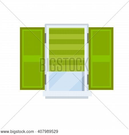 Window With Open Sashes. Glass And White Frame With Green Roll Curtain