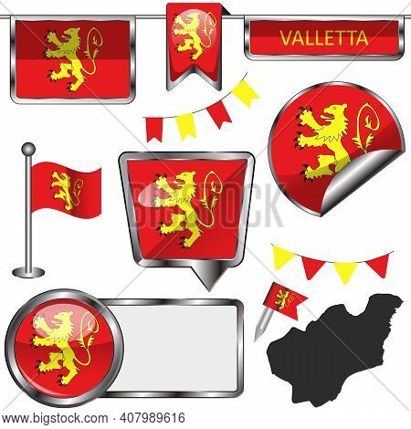 Glossy Icons Of Flag Of Valletta, Malta. Vector Image