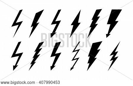 Set Of Thunderbolt And Lightning Icons. Vector Simple Icons In Flat Style. Lightning Silhouettes Iso