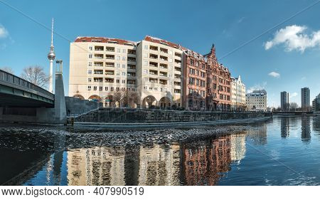 Riverside With Old Houses In Nikolaiviertel, Or Nicholas Quarter In East Center Of Berlin