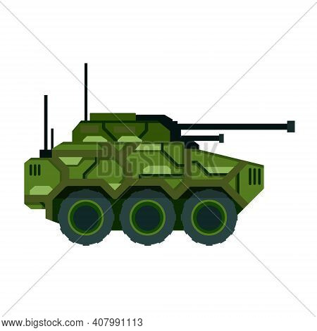 Tank. Military Vehicle With A Big Gun. Weapons For Modern Warfare. Camouflage Armored Vehicles.