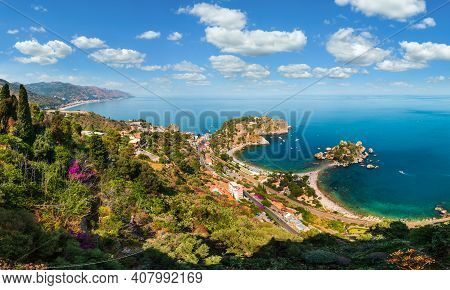 Beautiful Taormina Panoramic View From Up (stairs To Taormina), Sicily, Italy. Sicilian Seascape Wit