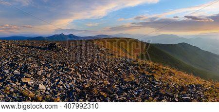 Summer Evening Carpathian Mountain Top View From Stony Summit Of Ihrovets Mount (gorgany, Ukraine).