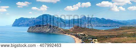 Summer Rocky Coastline And Camping On Sandy Beach (tihaja Bay (koktebel Town On Right), Crimea, Ukra