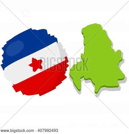 Map And Flag Of Yugoslavia. Serbia And Montenegro. National White Blue Red Symbol. Geography And His