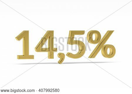 Gold Digit Fourteen Point Five With Percent Sign - 14,5% Isolated On White - 3d Render