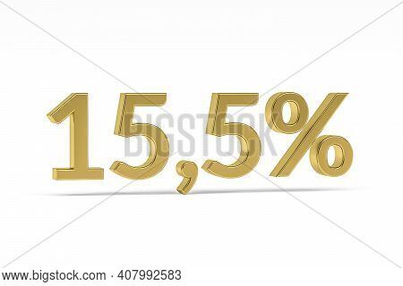 Gold Digit Fifteen Point Five With Percent Sign - 15,5% Isolated On White - 3d Render