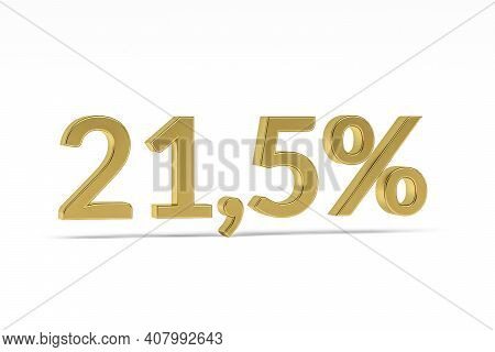 Gold Digit Twenty-one Point Five With Percent Sign - 21,5% Isolated On White - 3d Render