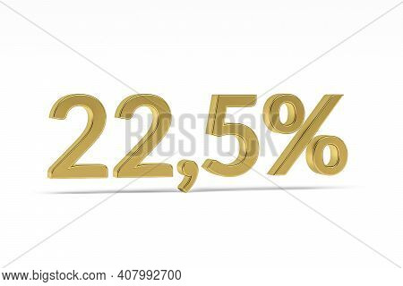 Gold Digit Twenty-two Point Five With Percent Sign - 22,5% Isolated On White - 3d Render