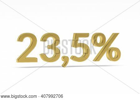 Gold Digit Twenty-three Point Five With Percent Sign - 23,5% Isolated On White - 3d Render