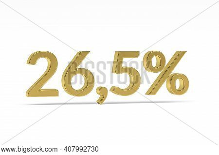 Gold Digit Twenty Six Point Five With Percent Sign - 26,5% Isolated On White - 3d Render