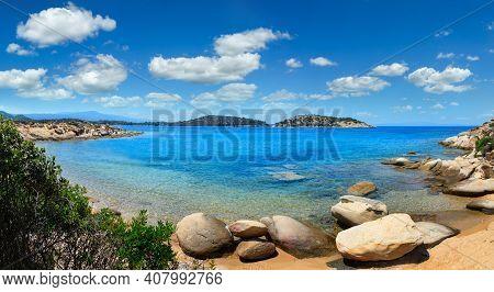 Beautiful Summer Aegean Sea Coast Landscape, Sithonia (near Lagonisi Beach), Halkidiki, Greece.
