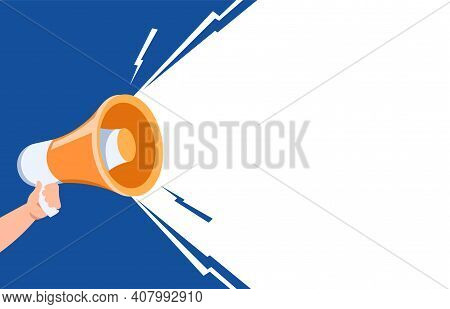 Hand With Loudspeaker. Cartoon Human Arm Holding Megaphone. Colorful Background With Copy Space. Ret
