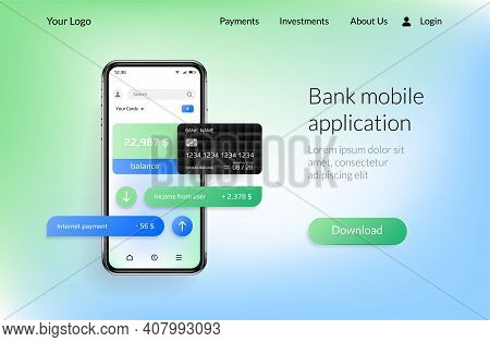 Banking App Landing Page. Mobile Payment And Financial Account, Smartphone Ui Mockup For Online Bank