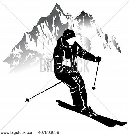 Black And White Image Of A Skier On A Background Of Mountains Vector Illustration