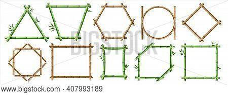 Bamboo Frame. Realistic Wooden Borders With Copy Space, Rustic Isolated Geometric Constructions. Gre