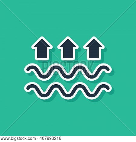 Blue Waves Of Water And Evaporation Icon Isolated On Green Background. Vector