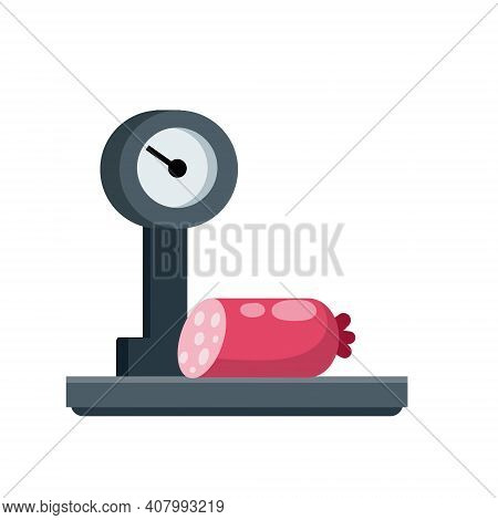 Sausage On Scale. Shopping In A Grocery Store. Weighing Of Meat Products. Decoration For The Store A