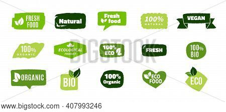 Organic Food Banners. Trendy Ecology Concept, Eco And Bio Tags Design For Natural Products. Green Si