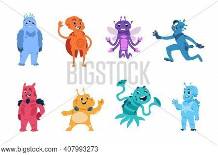 Alien Character. Cartoon Extraterrestrial Monsters. Cute Friendly Strangers Or Virus And Bacteria Ma