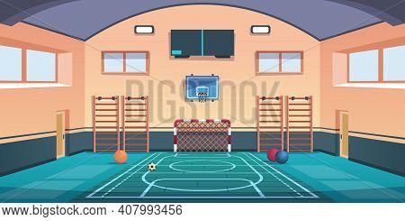Cartoon School Court. Gym With Basketball Basket And Football Goal Or Gymnastic Equipment. Comfortab