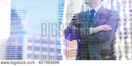 Double Exposure Businessman And Real Estate With Arms Crossed And Confident Business Man Handsome Ma