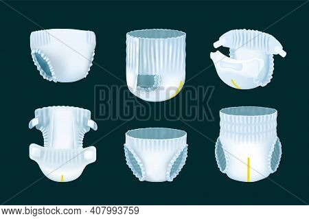 Realistic Diaper. 3d Childrens Nappy Pee Absorption. View From Different Sides On Soft Disposable Un