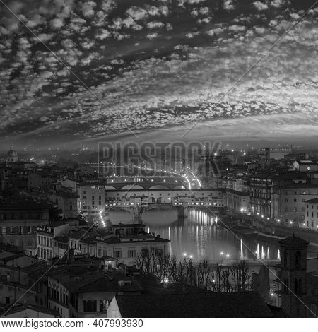 Grayscale. Night Florence City Top View (italy, Tuscany) On Arno River.