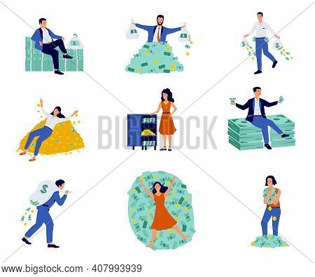 Rich People. Cartoon Characters With Mountains Of Cash And Coins, Isolated Millionaire And Billionai